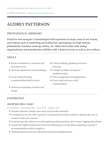 Shoppers Drug Mart Cosmetician Resume Sample Grand Cane