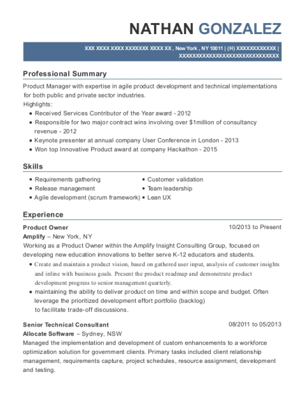 Amplify Product Owner Resume Sample New York New York
