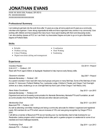 fundraising intern resume examples
