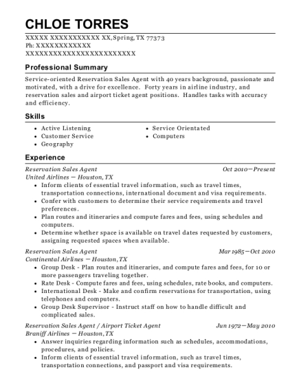 United Airlines Reservation Sales Agent Resume Sample - Spring Texas ...