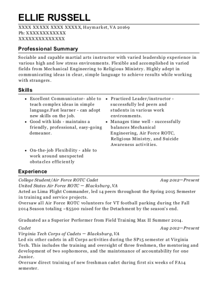 air force rotc resume example