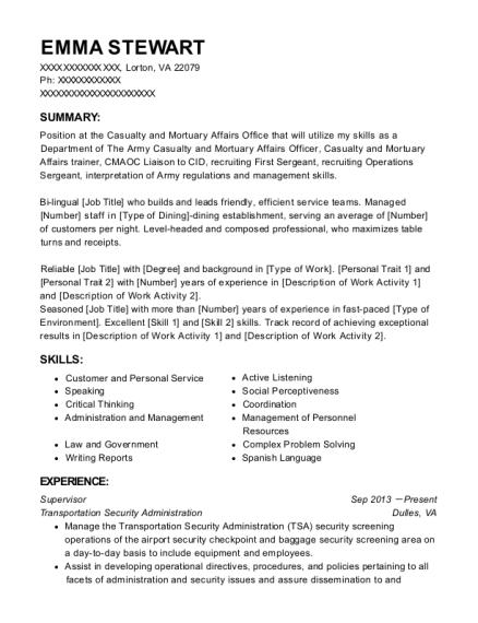 homeland security resume sample