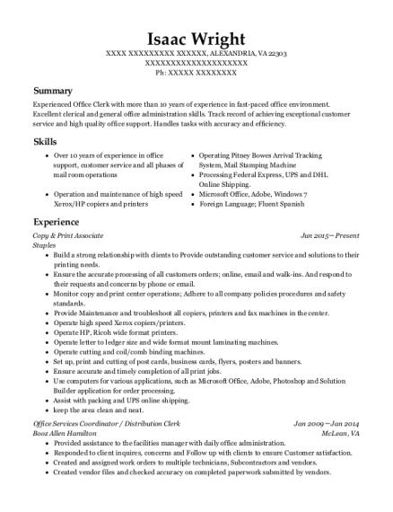 Office Depot Copy  Print Associate Resume Sample  Longview Washington  ResumeHelp