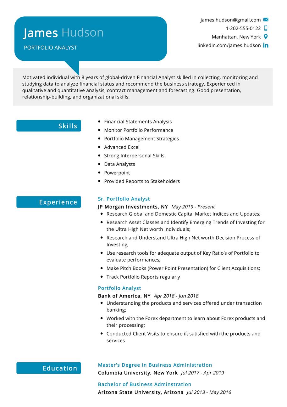 resume for portfolio analyst