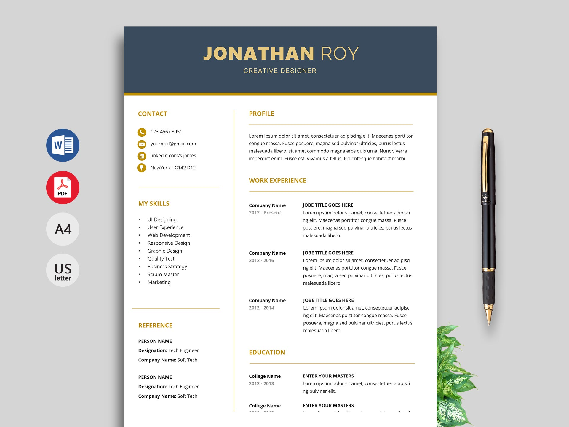 Looking for a clean and professional resume template? Simple Resume Format Cv Template Free Download 2021