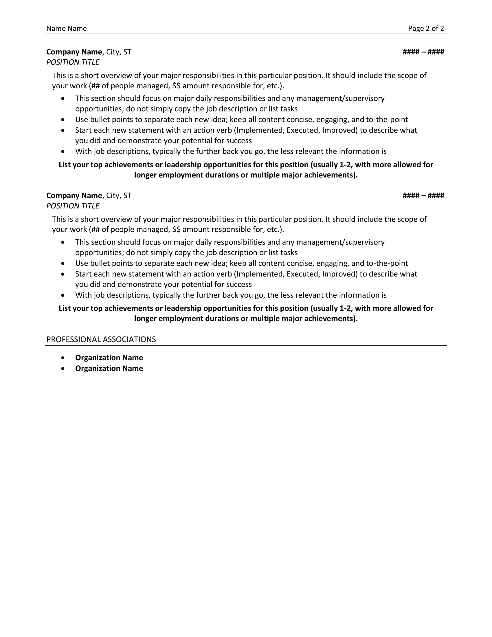 Example Professional Resume Resume Example Resume Sample All Level Resumes Resume Template