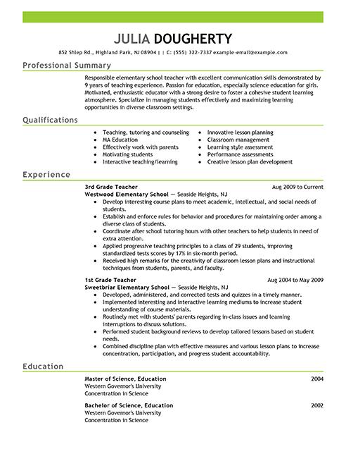 teacher resume builder
