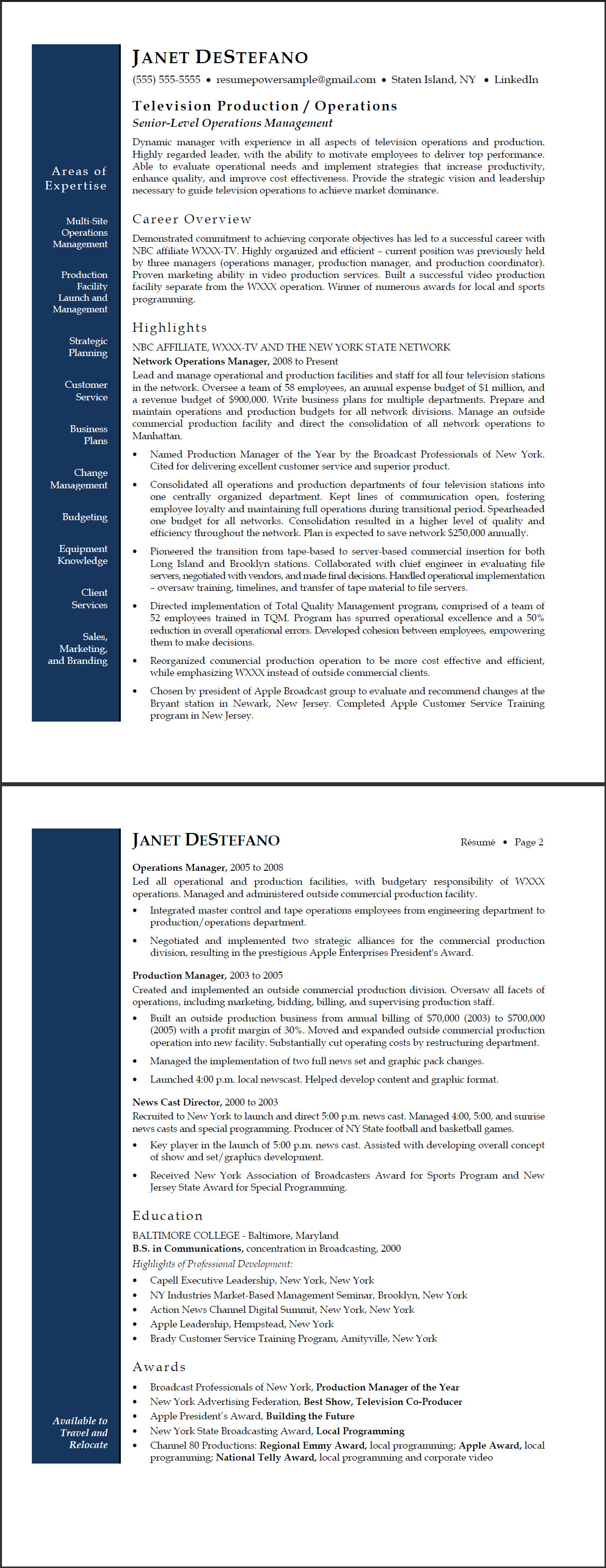 TV Network Operations Manager Sample Resume ExecResumes