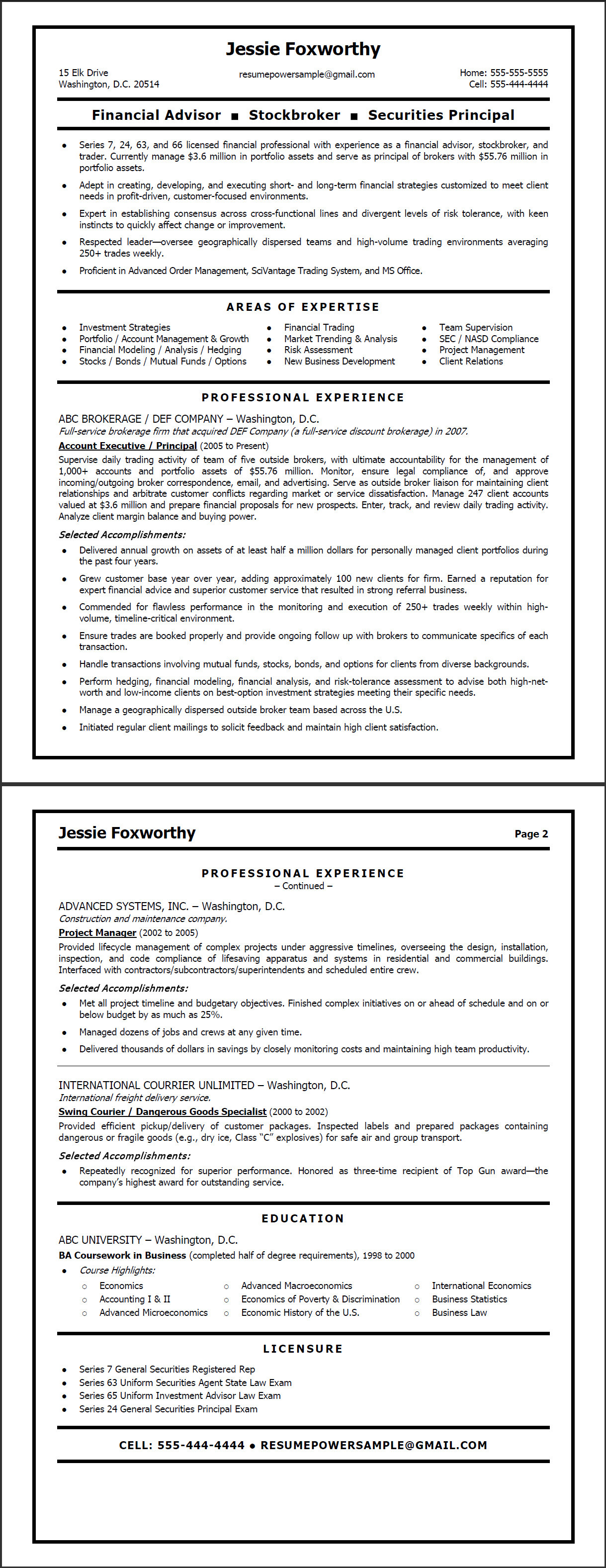 Securities Trader Cover Letter Stock Broker Resume Template Stock Broker Resume Stockbroker
