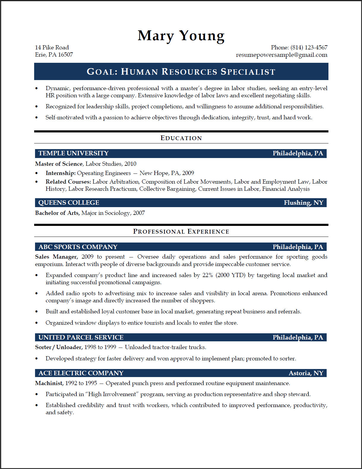 Human Resources Resume Example Hr Specialist Sample Resume Resumepower