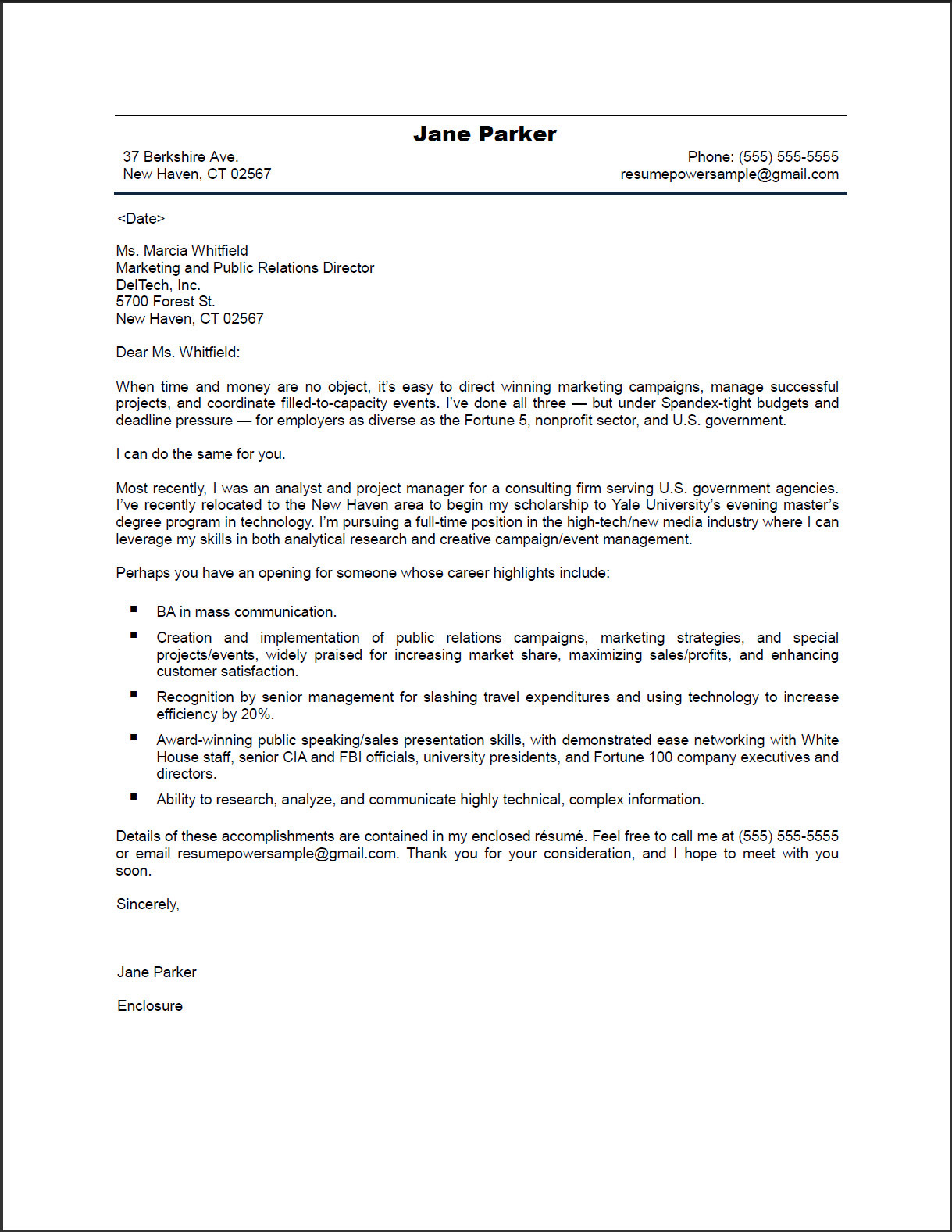 Sample Cover Letter Public Relations