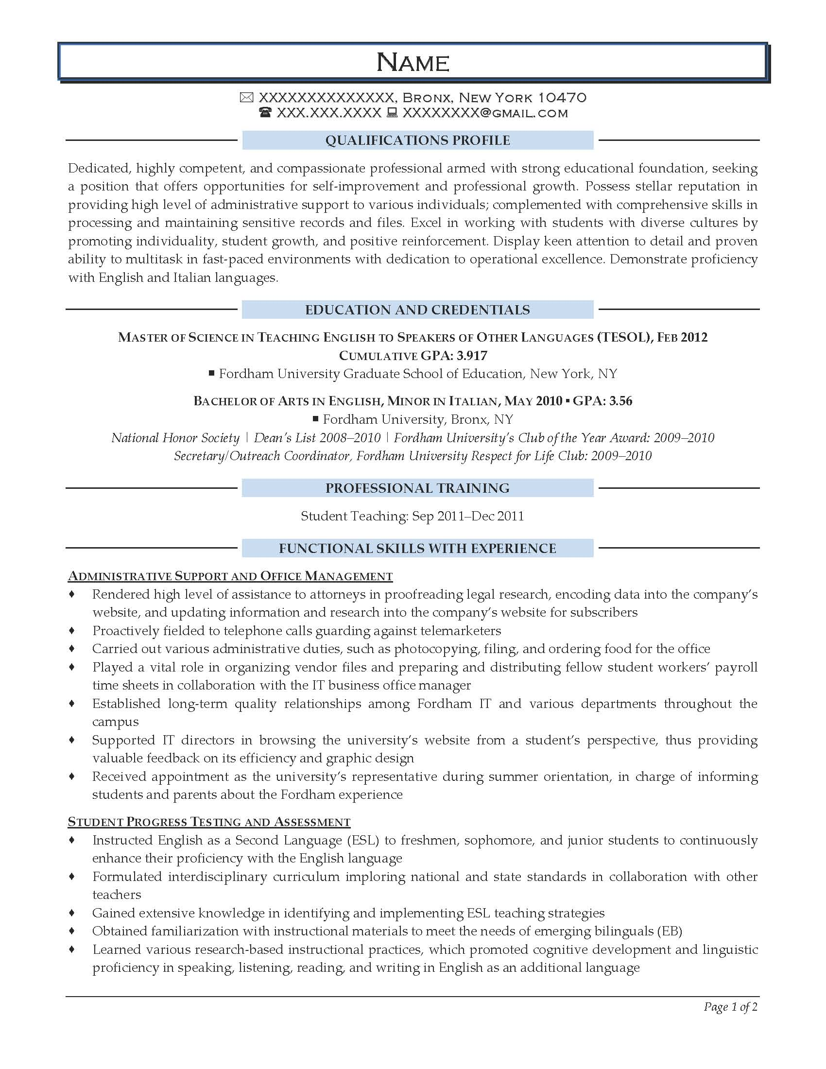 Sample Teacher Resume Templates Entry Level Resume Samples Resume Prime