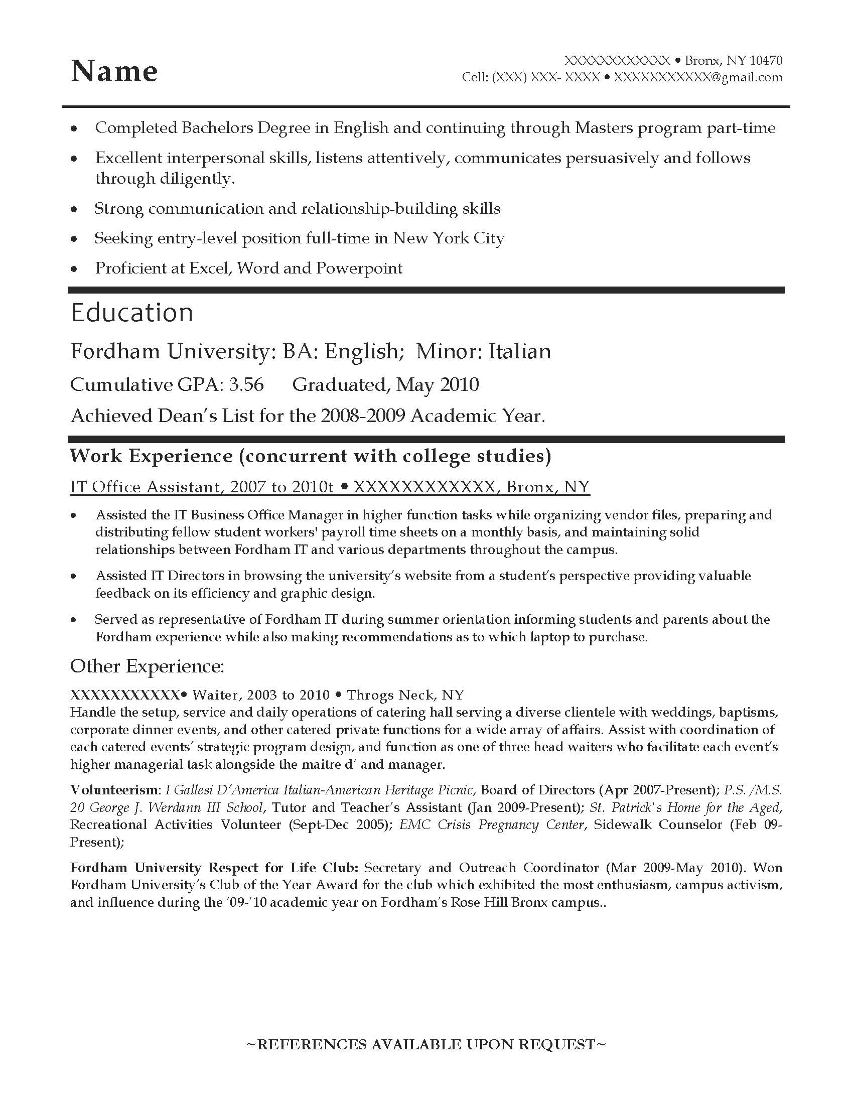 Samples Of Entry Level Resumes Entry Level Resume Samples Resume Prime