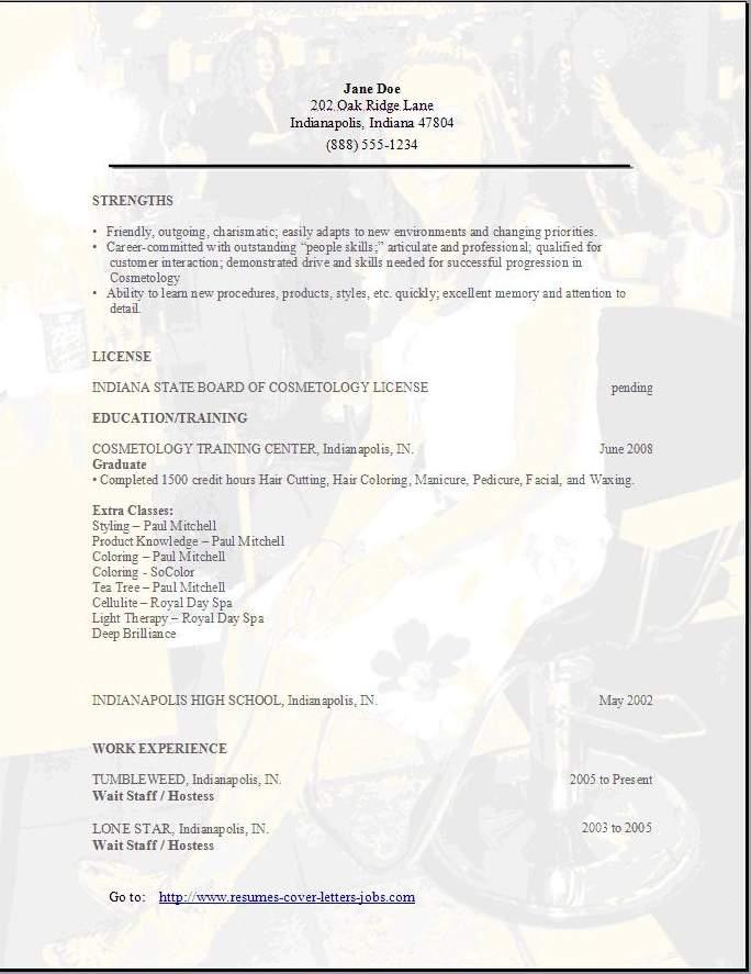 cosmetology resume sample templates
