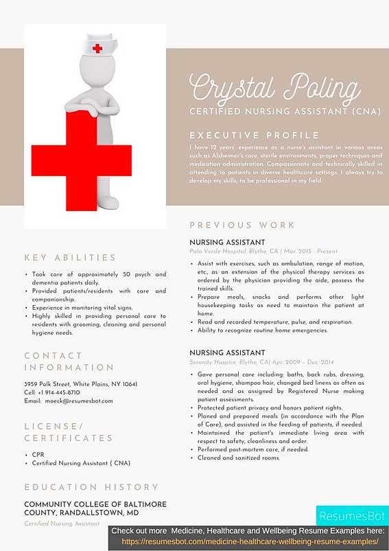 Certified Nursing Assistant Cna Resume Samples And Tips