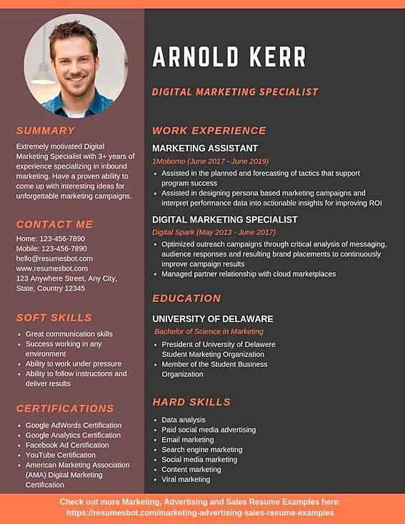 digital marketing specialist resume template
