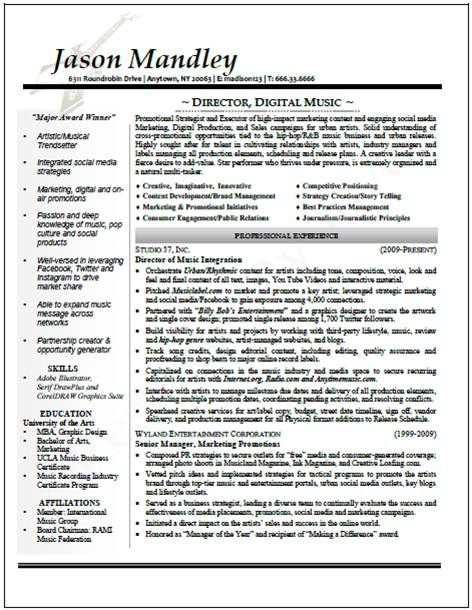 Entertainment Industry Executive Resume Sample  Entertainment Industry Resume