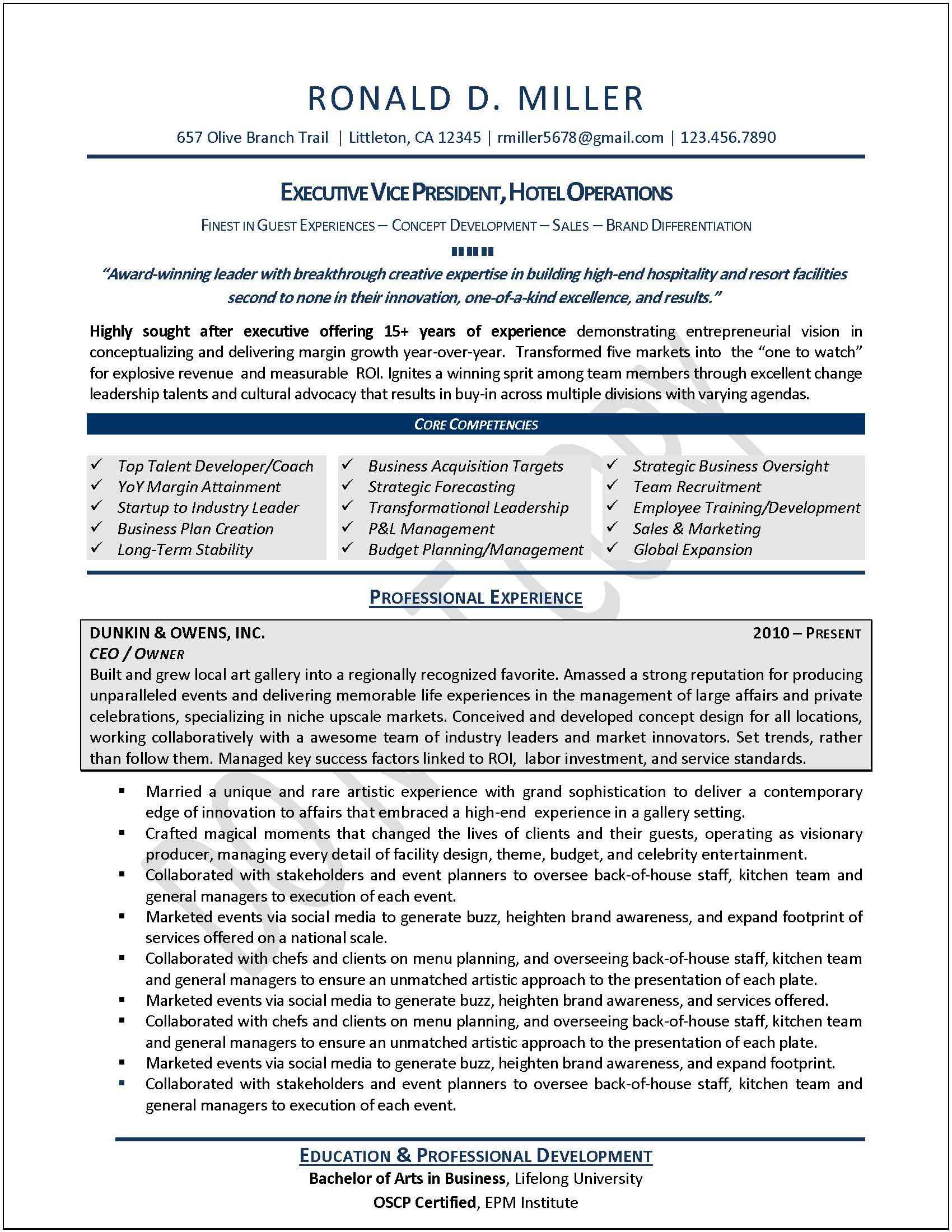 Operations Manager Resume Sample Executive Resume Samples Professional Resume Samples