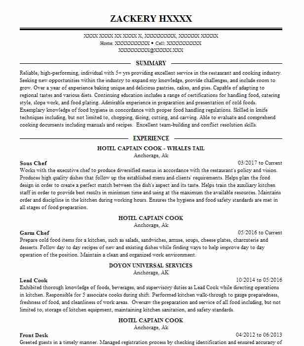 chef resume example objective