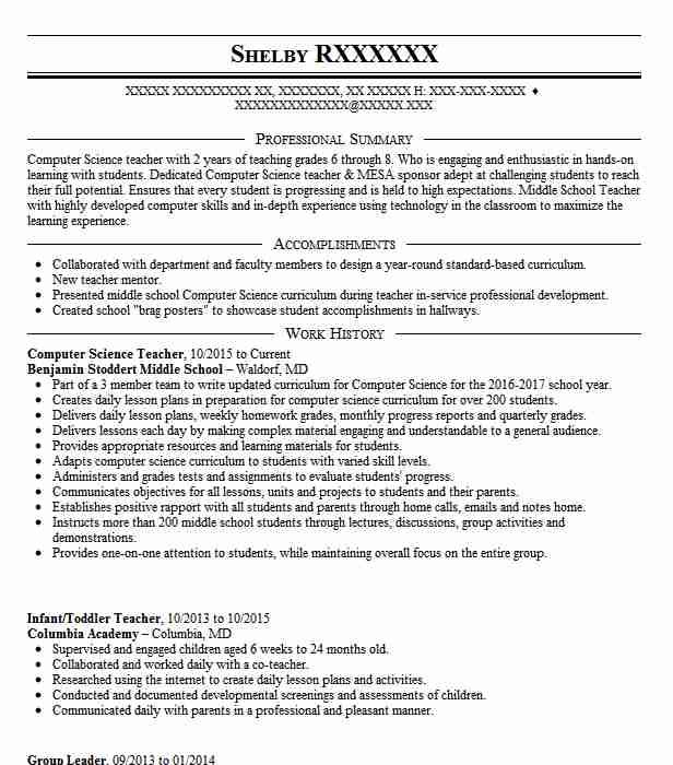 master of computer science resume sample