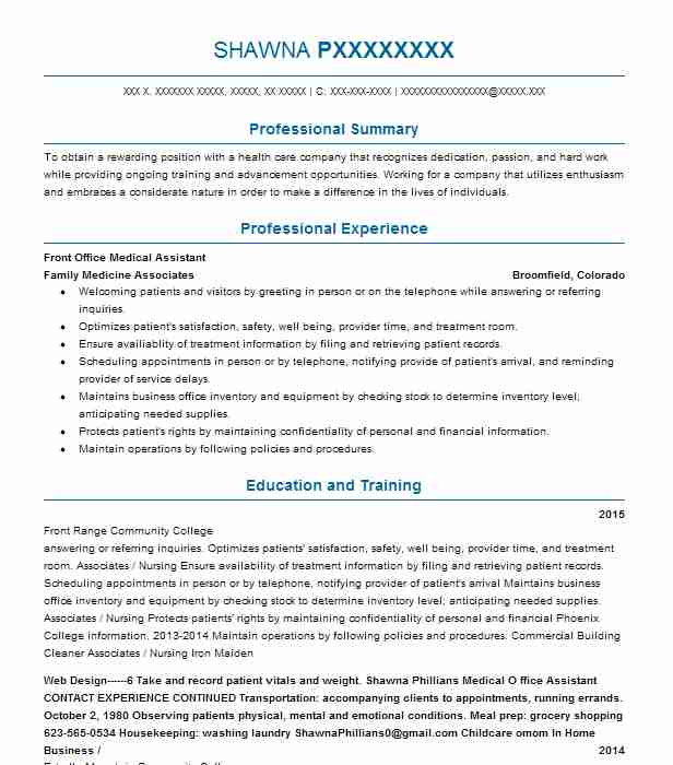 medical office assistant resumes examples
