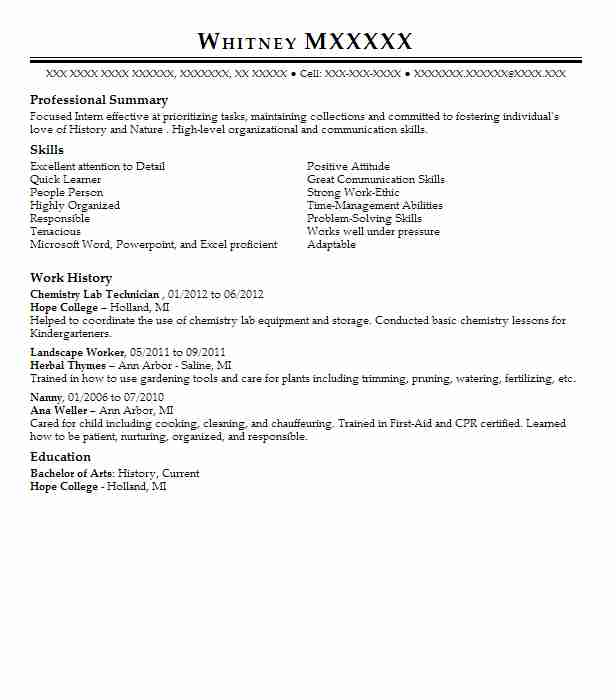 lab techniciain resume objective example