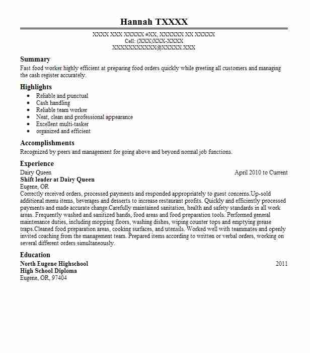 dairy queen resume example