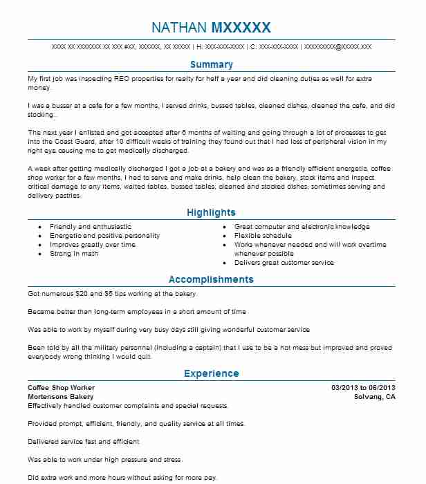 resume objectives examples for barista