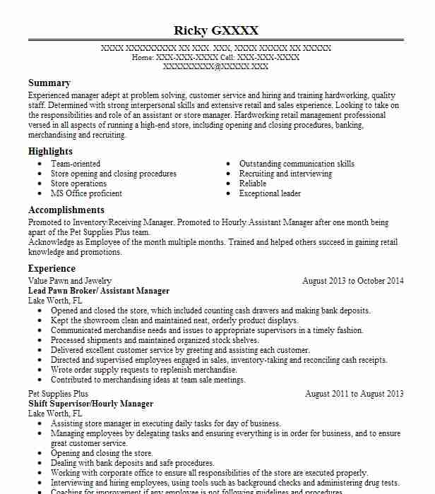 sample resume for pawn shop