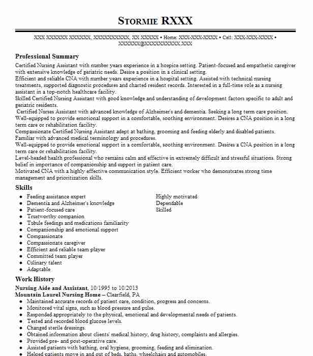Nursing Aide And Assistant Objectives  Resume Objective  LiveCareer