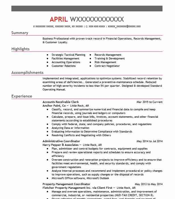 Accounts Receivable Clerk Objectives Resume Objective Livecareer