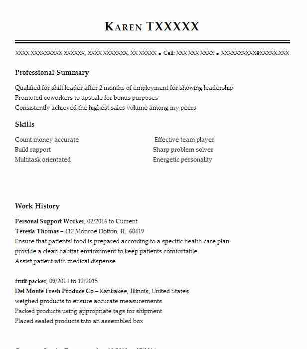 Personal Support Worker Resume Sample Resumes Misc