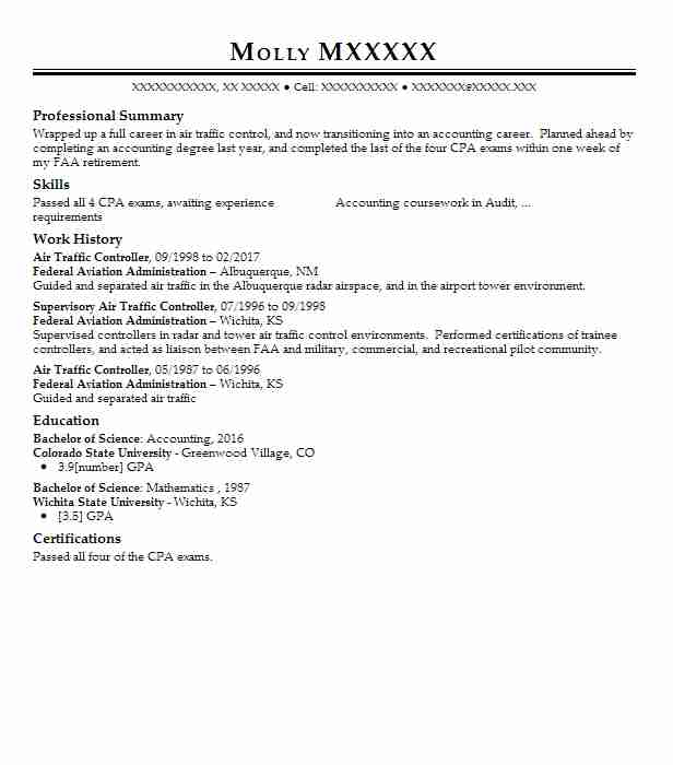 air traffic controller resume example