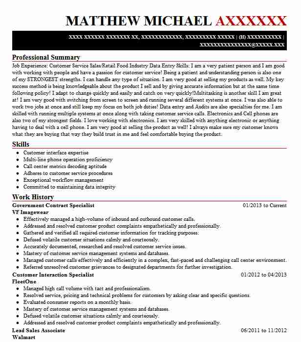 resume for contract specialist