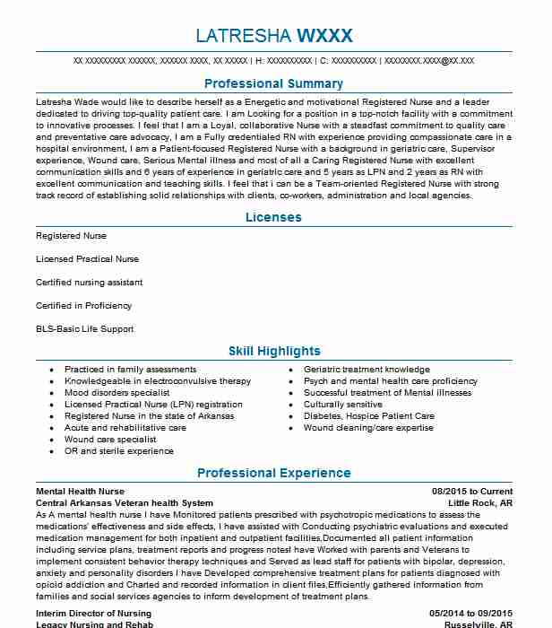 examples of a psych nurse resume