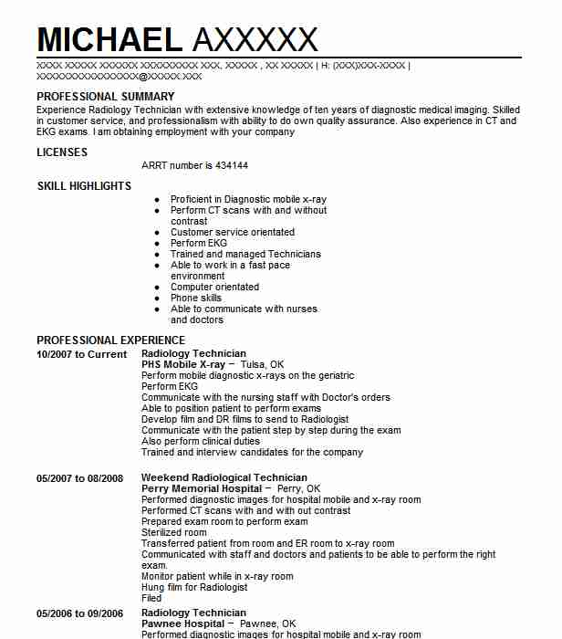 Best Radiology Technician Resume Example  LiveCareer
