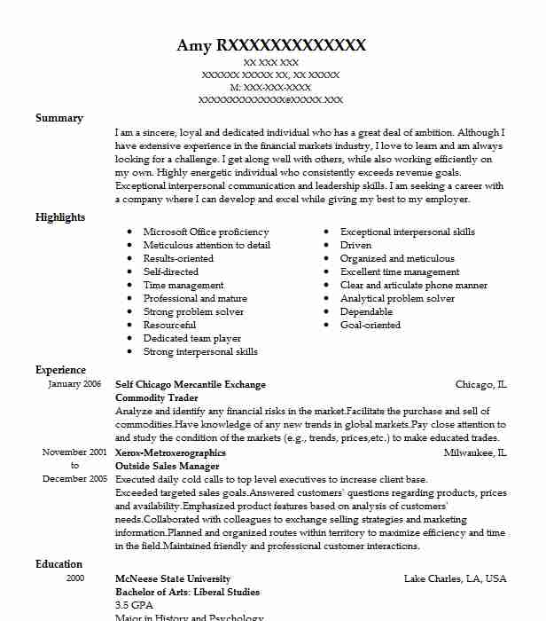 Commodity Trader Resume Sample Trader Resumes Livecareer