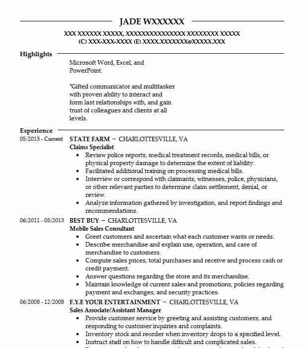 example resume claims specialist