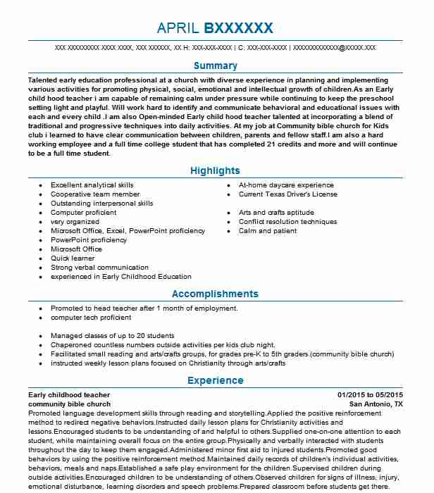 resume career objective early childhood
