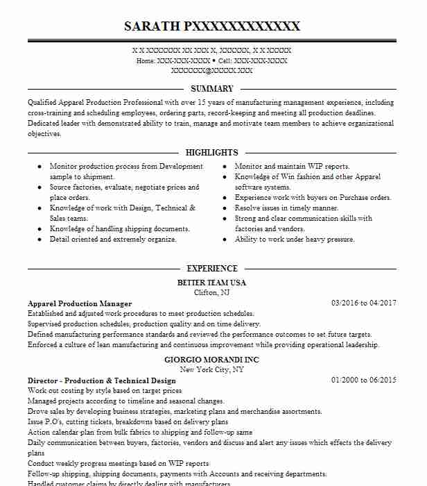 apparel production manager resume sample