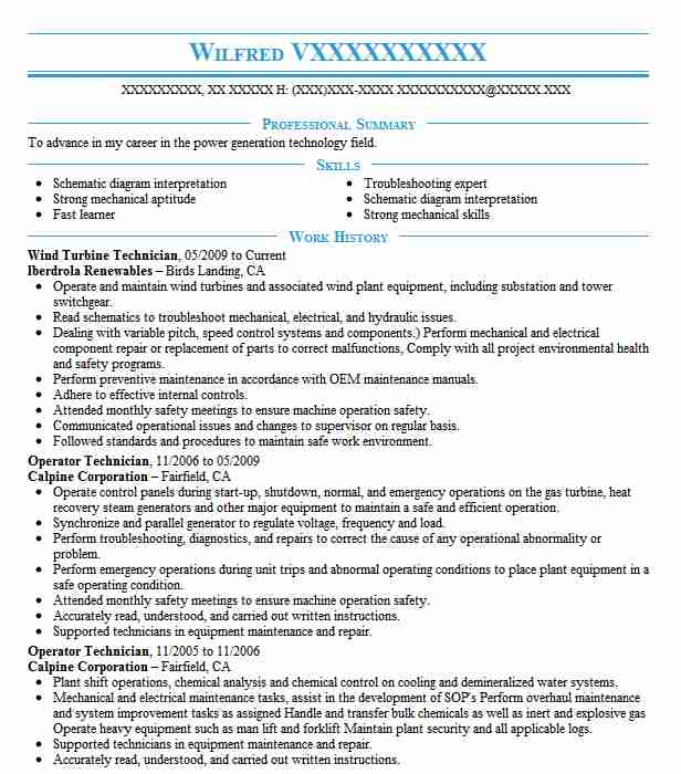 Wind Turbine Technician Resume Sample LiveCareer
