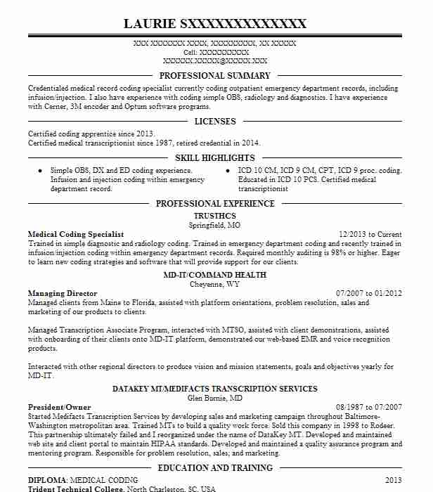 resume headline examples for medical coding