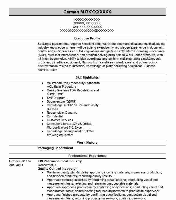 aviation quality control inspector resume