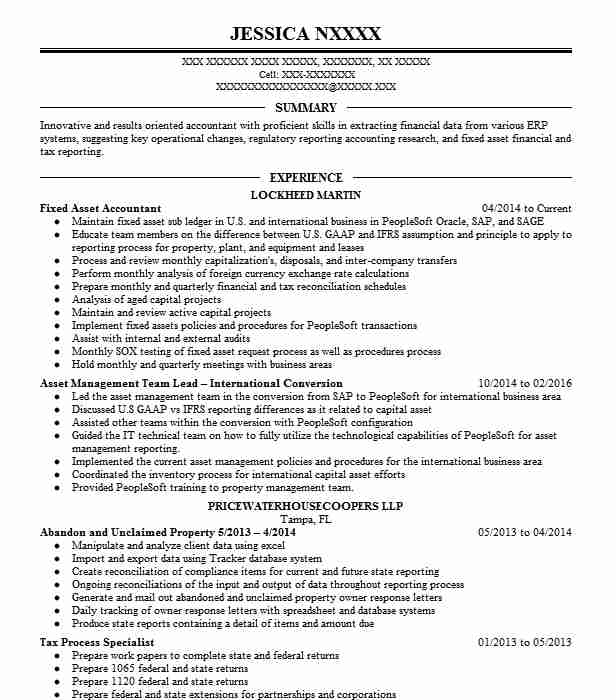 Fixed Asset Accountant Resume Sample  Accountant Resumes  LiveCareer