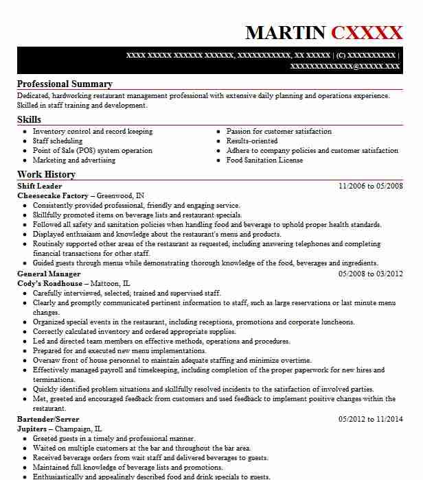 sample resume restaurant shift leader