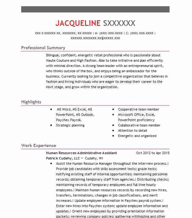 Human Resources Administrative Assistant Resume Sample  LiveCareer
