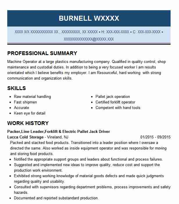 distribution forklift operator resume example