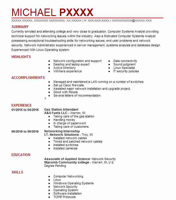 Example Resume For Gas Station Cashier