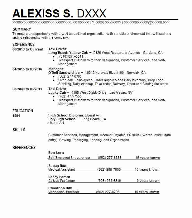 taxi driver resume