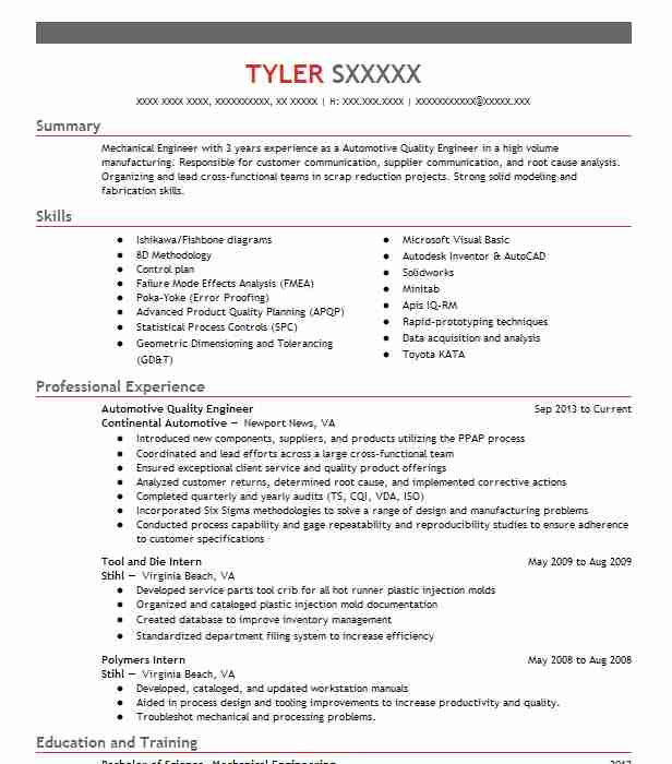 Automotive Quality Engineer Resume Sample  LiveCareer